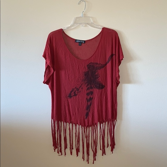 living doll Tops - Distressed Rust Colored Top